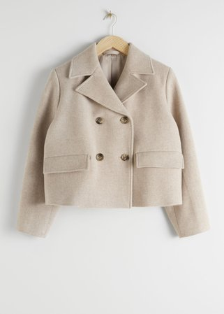 Cropped Double Breasted Wool Blend Jacket - Beige - Blazers - & Other Stories
