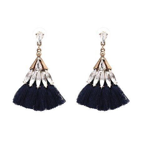 Jewelled Black Tassel Earrings