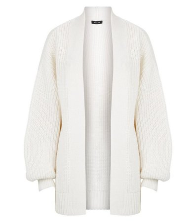 Off White Puff Sleeve Long Knit Cardigan | New Look