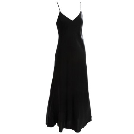 Saks Fifth Avenue Black Silk Charmeuse Slip Dress Long Gown Size M 1990s For Sale at 1stdibs