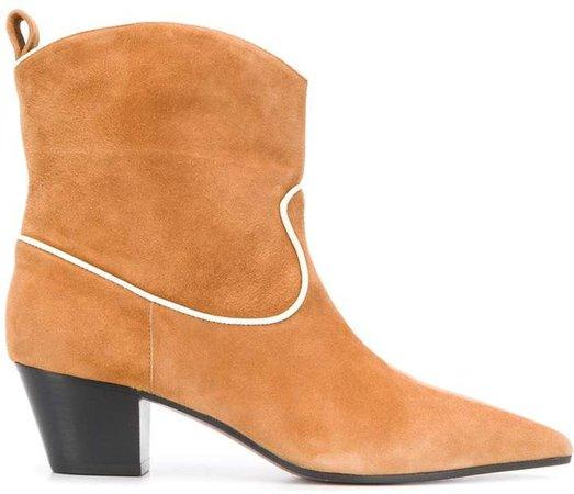 contrast-trim cowboy boots