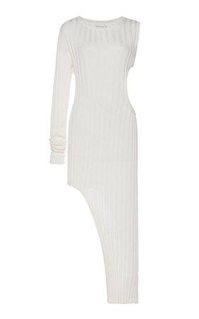 Ribbed Slit Cotton Midi Dress by Boyarovskaya | Moda Operandi