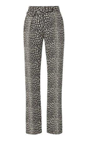 Pleated Leopard Jacquard Straight-Leg Trousers By Brandon Maxwell | Moda Operandi
