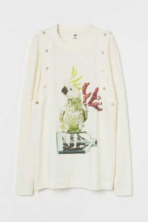 Buttoned Jersey Top - White
