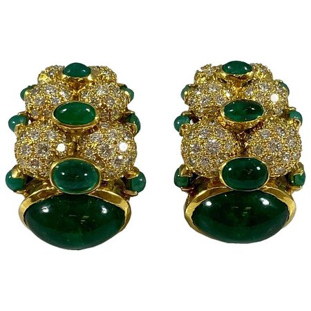 Hammerman Brothers Cabochon Emerald and Diamond Earrings For Sale at 1stDibs