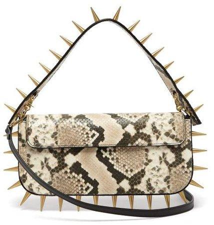 Marques'almeida - Spiked Snakeskin Effect Leather Shoulder Bag - Womens - Multi