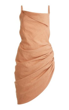 Saudade Asymmetric Draped Hemp-Blend Mini Dress By Jacquemus | Moda Operandi