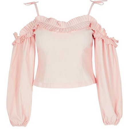 Petite pink frill bardot long sleeve top | River Island