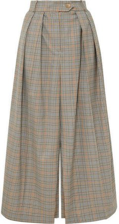 Pleated Checked Wool Skirt - Brown