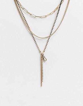AllSaints Multichain drop necklace | ASOS