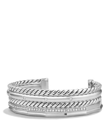 David Yurman Stax Narrow Cuff Bracelet with Diamonds | Bloomingdale's