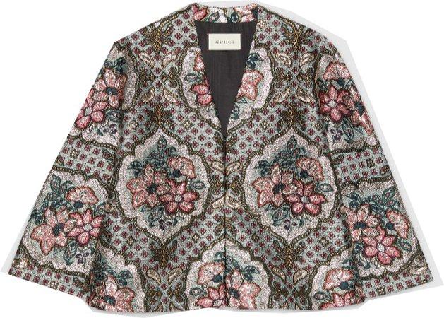 GUCCI geometric floral jacquard cape