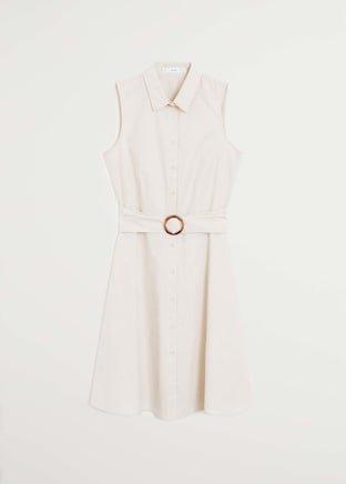 Belt shirt dress - Women | Mango USA ivory