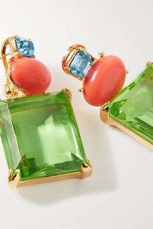 Gold + Brandon Maxwell gold-plated multi-stone earrings | Kenneth Jay Lane | NET-A-PORTER