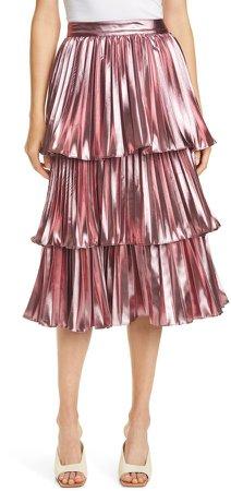 Ariana Metallic Pleated Skirt