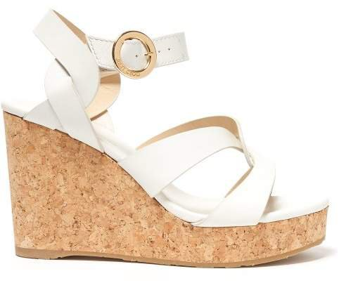 Aleili 100 Wedge Leather Sandals - Womens - White