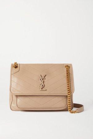 Niki Medium Quilted Leather Shoulder Bag - Beige