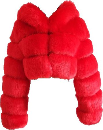 red furry jacket✨