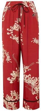 Printed Crepe De Chine Wide-leg Pants