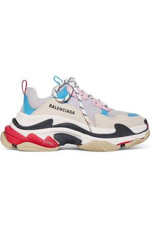 Balenciaga | Baskets en cuir, nubuck et résille à logo Triple S | NET-A-PORTER.COM
