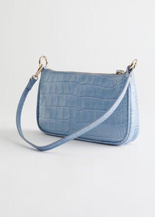 Croc Embossed Leather Shoulder Bag - Light Blue - Shoulderbags - & Other Stories