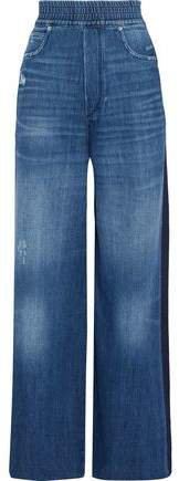 Sophie Distressed Striped High-rise Wide-leg Jeans