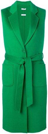 sleeveless belted coat