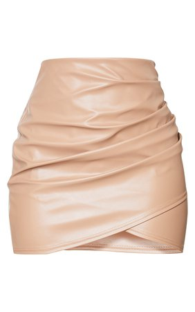 Stone Ruched Faux Leather Skirt   Skirts   PrettyLittleThing USA