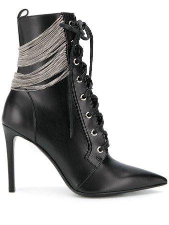 Black Balmain Silver-tone Chain Boots | Farfetch.com