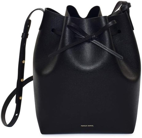 Saffiano Bucket Bag - Black