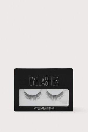 False Eyelashes with Glue - Black