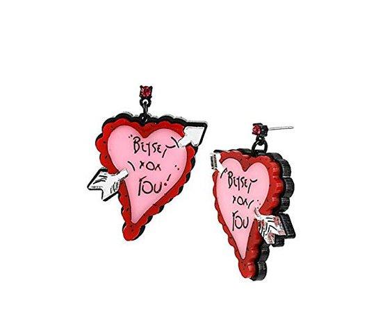 Betsey Johnson Plexi Heart with Arrow Drop Earrings: Clothing