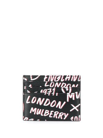 Shop black & white Mulberry graffiti card wallet with Express Delivery - Farfetch