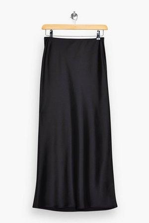 Black Satin Bias Maxi Skirt | Topshop