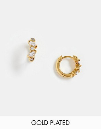 Orelia gold plated navette crystal huggie hoop earrings | ASOS