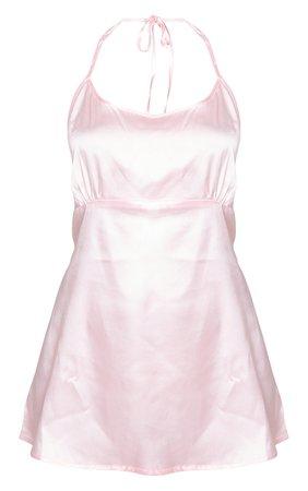 Baby Pink Low Back Tie Detail Satin Nightie | PrettyLittleThing USA