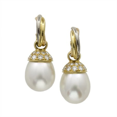 A pair of Cartier trinity drop pearl and diamond earrings - Bentley & Skinner (Bond Street Jewellers)