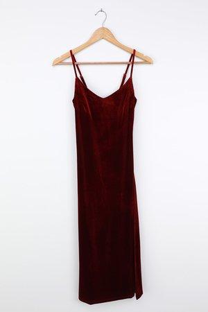 Wine Red Midi Dress - Sexy Velvet Dress - Midi Cocktail Dress