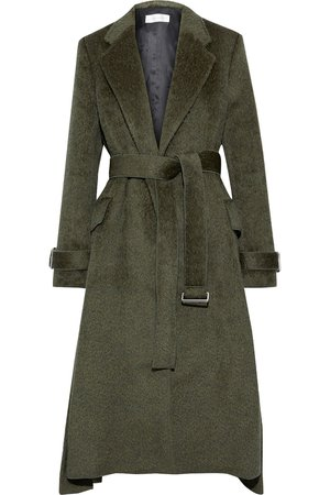 Army green Belted pleated wool and alpaca-blend coat | Sale up to 70% off | THE OUTNET | VICTORIA BECKHAM | THE OUTNET