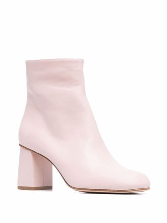 RED(V) almond-toe block-heel ankle boots