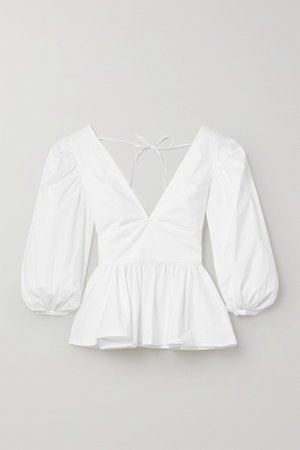 White Luna cotton-blend poplin peplum top | STAUD | NET-A-PORTER