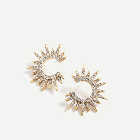 J.Crew: Starburst Sparkle Earrings For Women gold