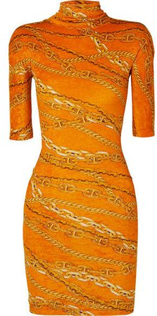 Printed Crushed-velvet Mini Dress - Orange