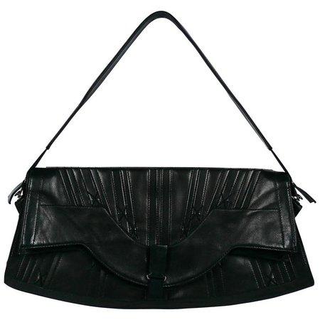 Jean Paul Gaultier Vintage Black Lambskin Corset Bag Clutch For Sale at 1stdibs