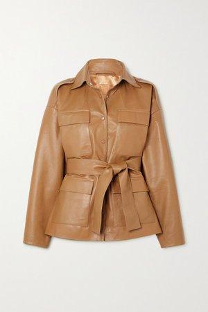 Eilera Belted Leather Jacket - Camel