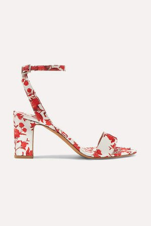 Johanna Ortiz Leticia Floral-print Satin Sandals - Red
