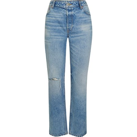 Blue ripped mid rise straight leg jeans | River Island