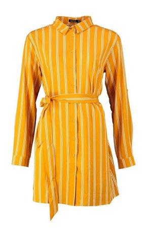 Stripe Print Shirt Dress   Boohoo