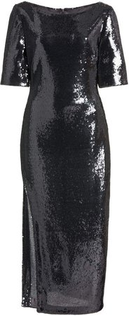 Sally LaPointe Stretch Sequin Boat Neck Tee Dress