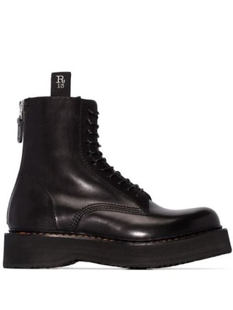 Black R13 Stack 40 military boots R13S0002018 - Farfetch